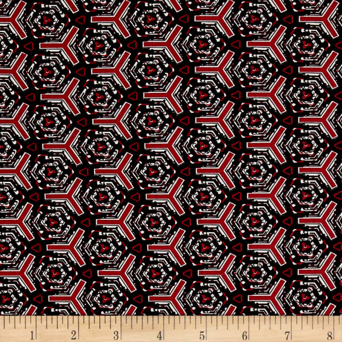 Italian Designer Rayon Jersey Knit Abstract Geo Black/Red