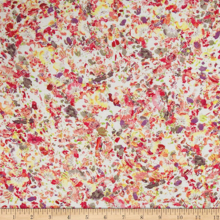 French Designer Rayon Challis Abstract Floral Yellow/Pink/Purple