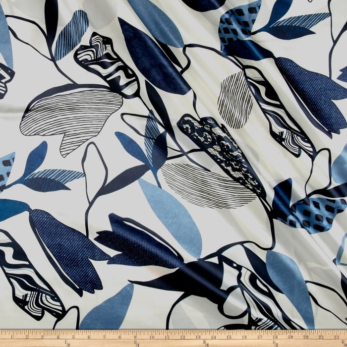 Italian Designer Silk Charmeuse Large Abstract Leaves Blue/White