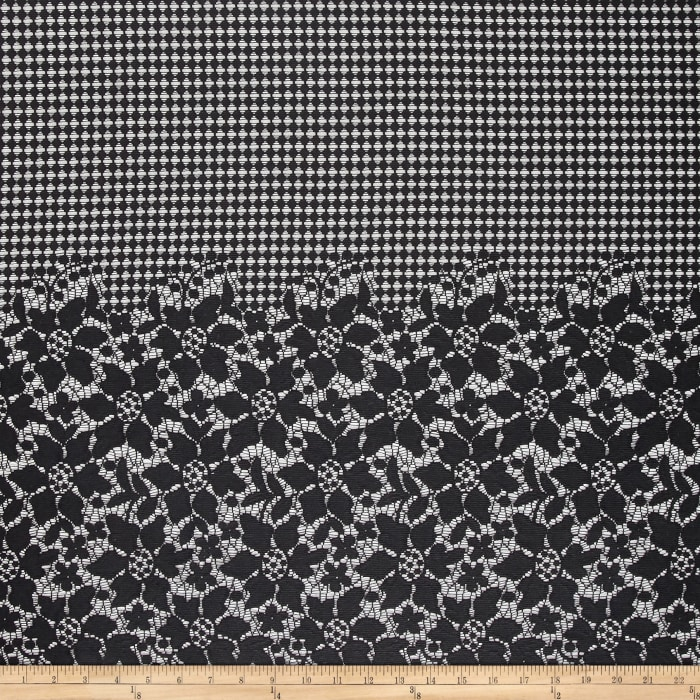 Grid Flower Double Border Lace Black
