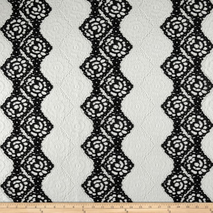 Polyester Floral Lace Black/White