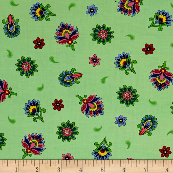 Imperial Paisley Tossed Flower Light Lime