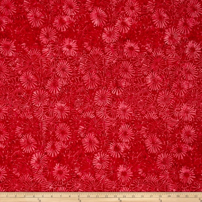 Primo Batiks Red Sky Flower Red