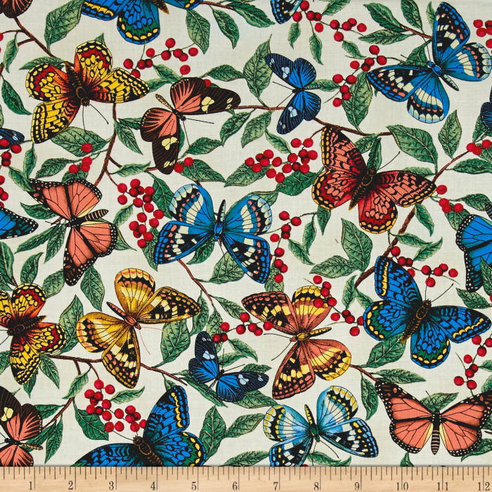Timeless Treasures Modern Curiosity Butterflies & Leaves Cream