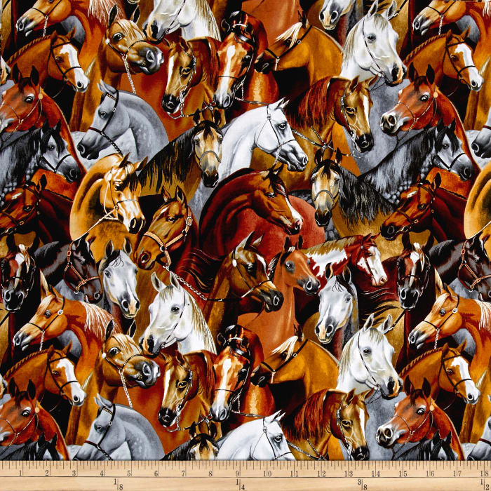 Timeless Treasures Stacked Horses Horse