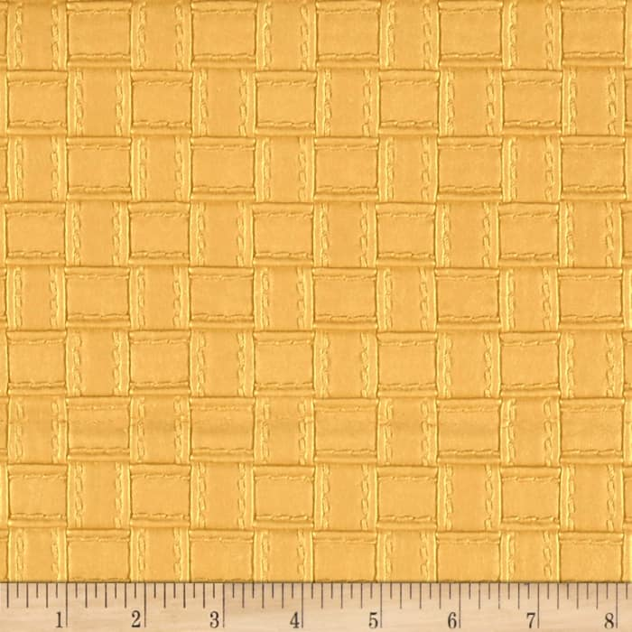 Faux Leather Basketweave Gold