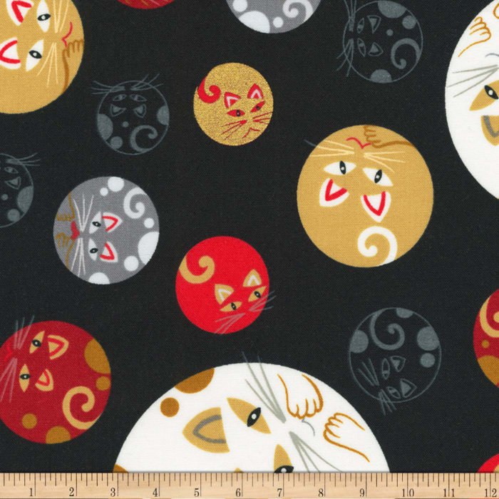 Kaufman Whiskers and Tails Metallic Geo Cats Black
