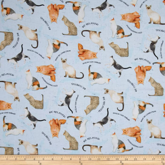 Kaufman Whiskers and Tails Digitally Printed Cats Blue