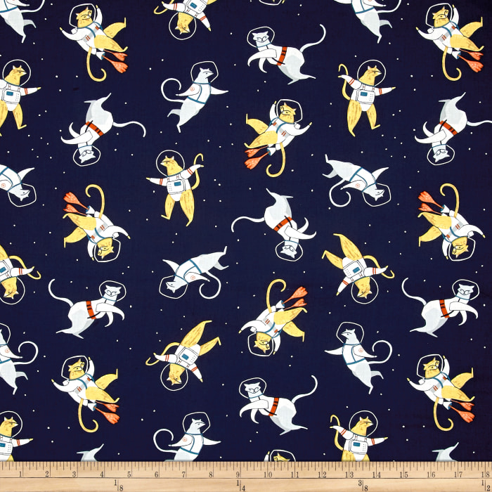 Dear stella supernova cats in space navy discount for Spaceman fabric