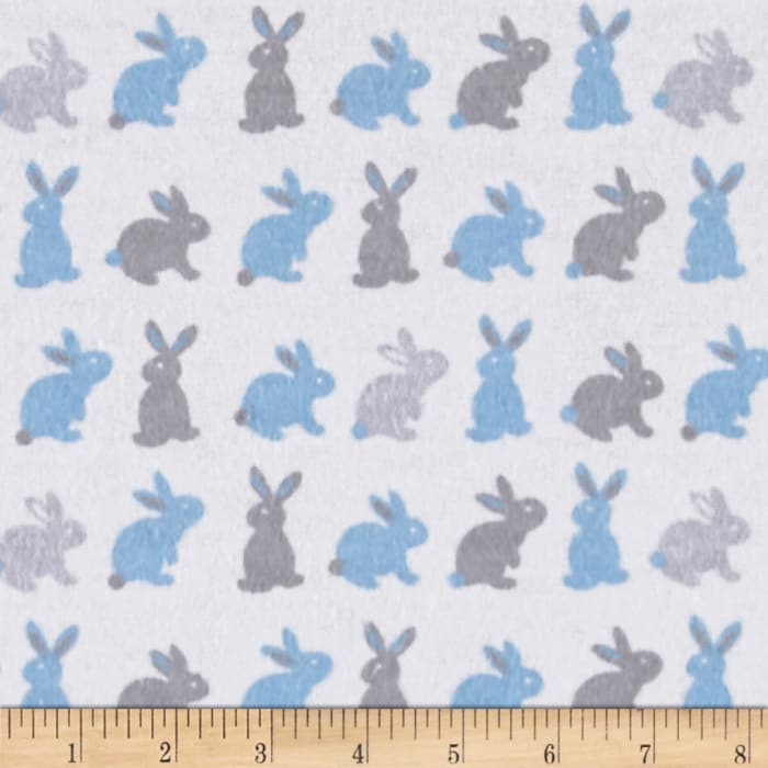 Bunnies Flannel Gray/Blue