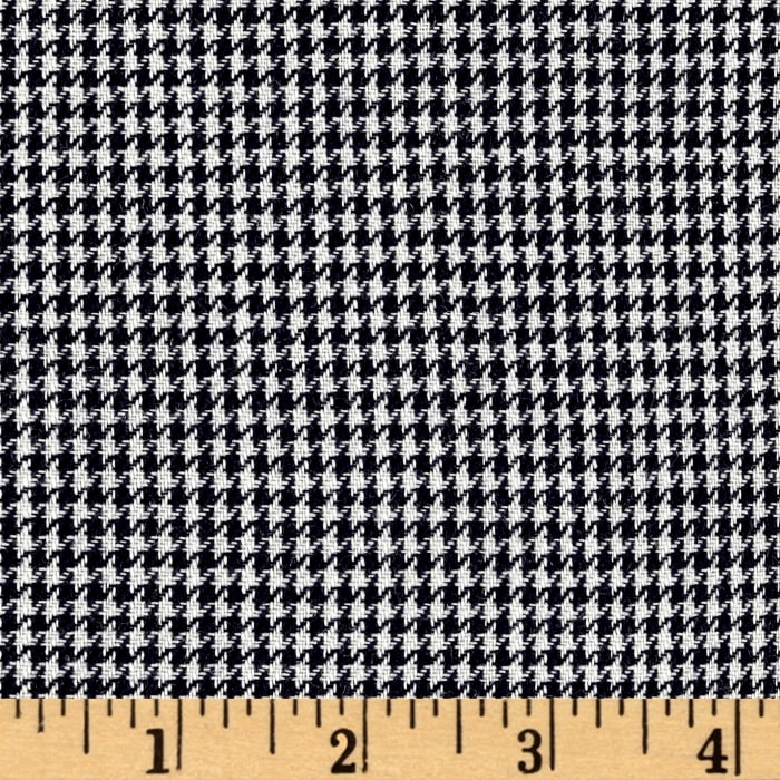 Luxury Wool Suiting Houndstooth Black/White