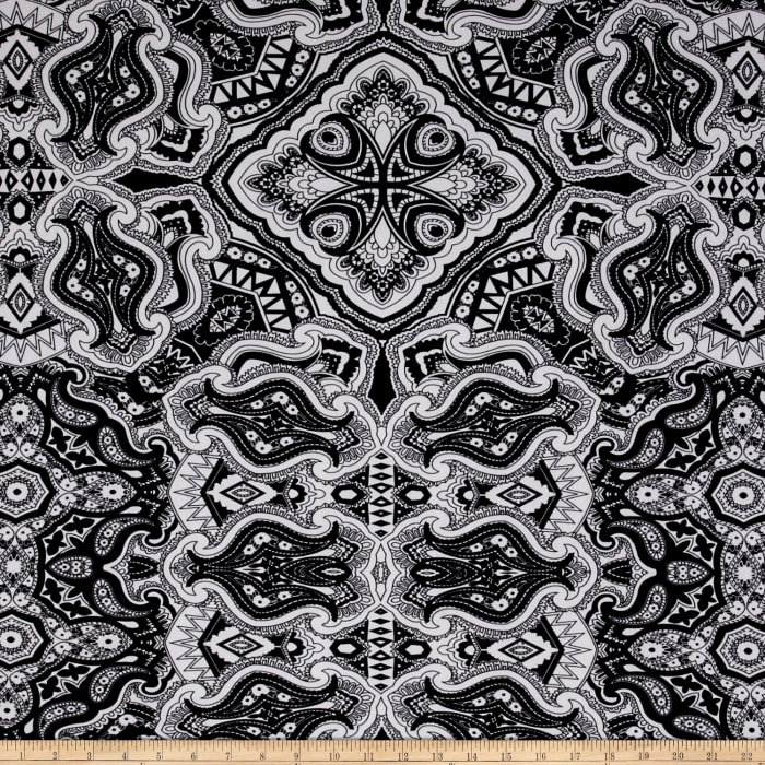 ITY Jersey Knit Abstract Paisley Black/White