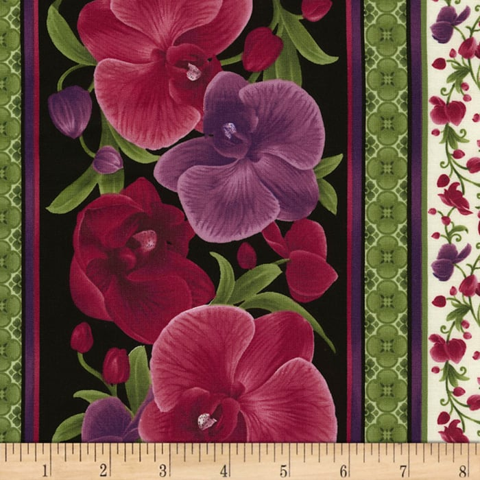 Timeless Treasures Wild Orchid Stripe Magenta