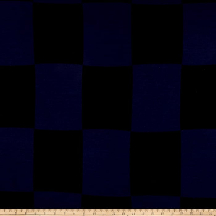 Large Checkerboard Wool Double Knit Navy/Black