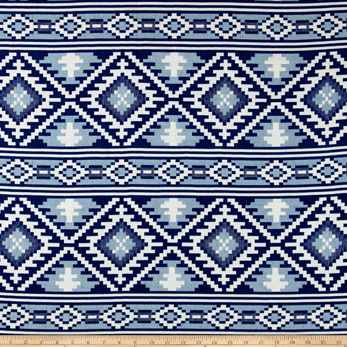 Laura & Kiran Saddle Blanket Doubleweave Jacquard Blue/White