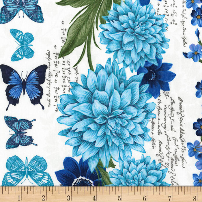 Timeless Treasures Butterfly Grotto Butterfly Floral Stripe Natural