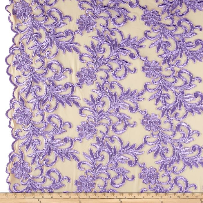 Heavyweight Embroidered Mesh Lace Lavender