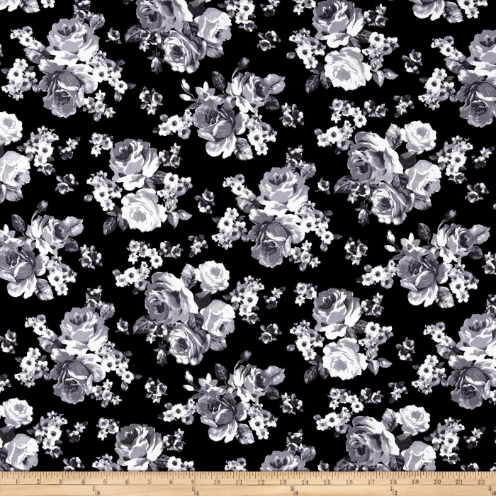 Double Brushed Printed Jersey Knit Roses Black/White