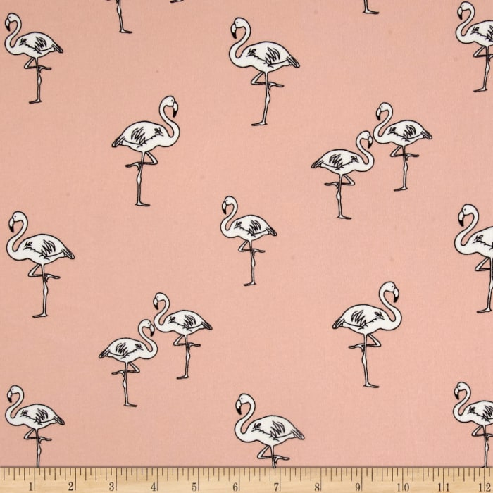 Double Brushed Poly Spandex Jersey Knit Flamingos Pink