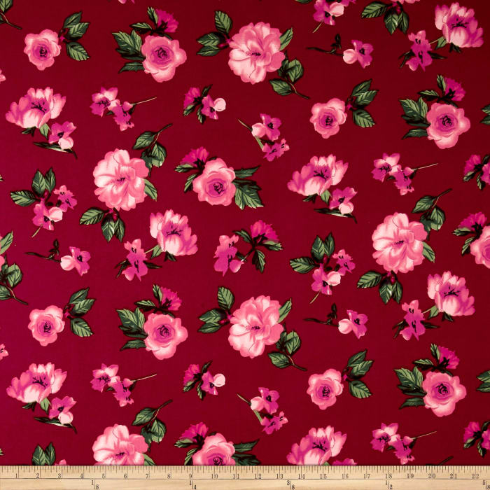 Double Brushed Printed Jersey Knit Contemporary Floral Wine/Pink/Sage