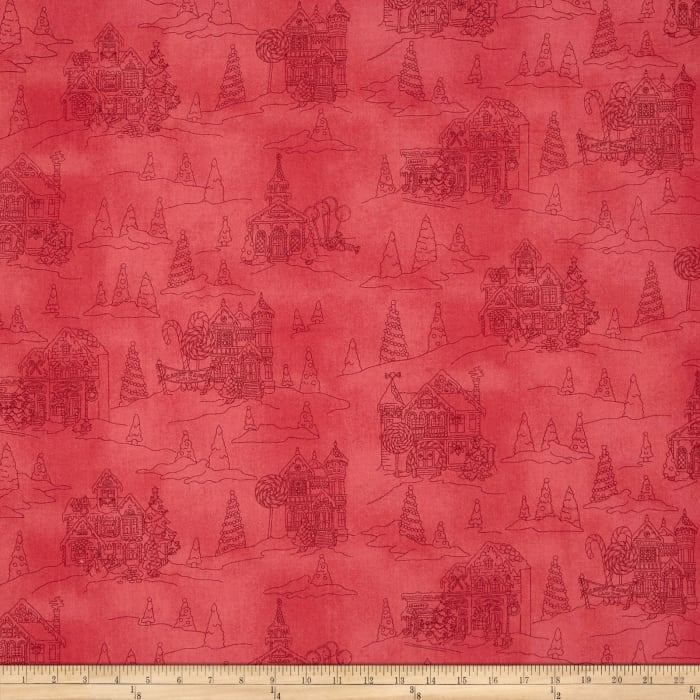 Gingerbread Christmas Toile Soft Red