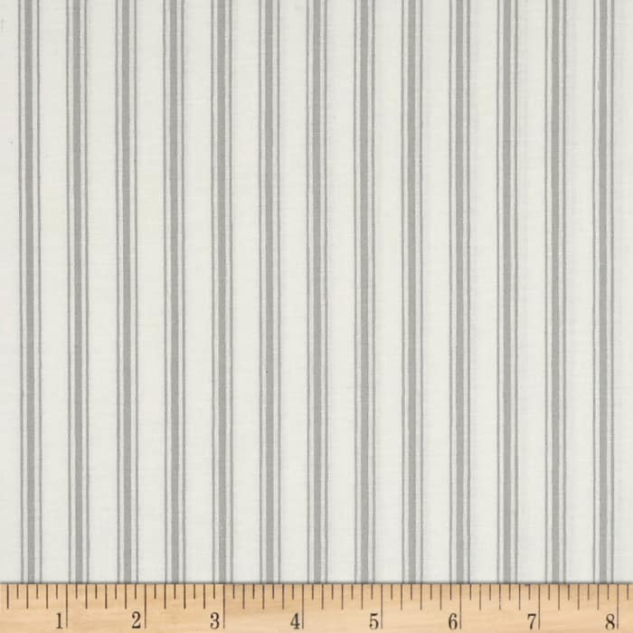 Hatters Tea Party Ticking Stripe Gray