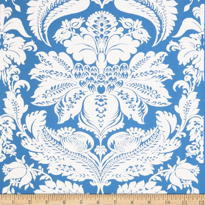 Fabricut 1087e Selenio Damask Wallpaper S0510 Sky Blue (Triple Roll)