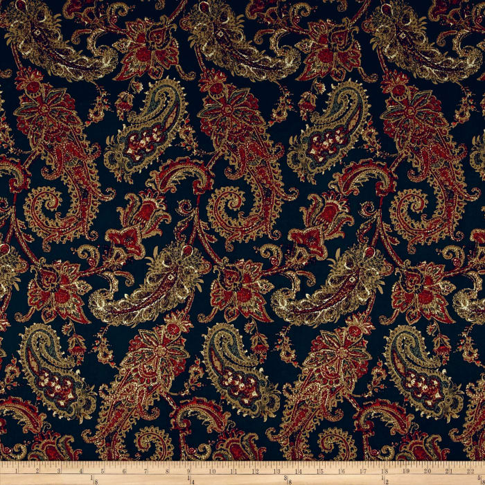 Maggy London Paisley Twill Sateen Dark Navy/Maroon