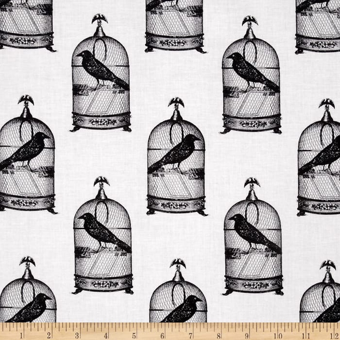 Michael Miller Nevermore Collection Jackdaws Urban Grit White
