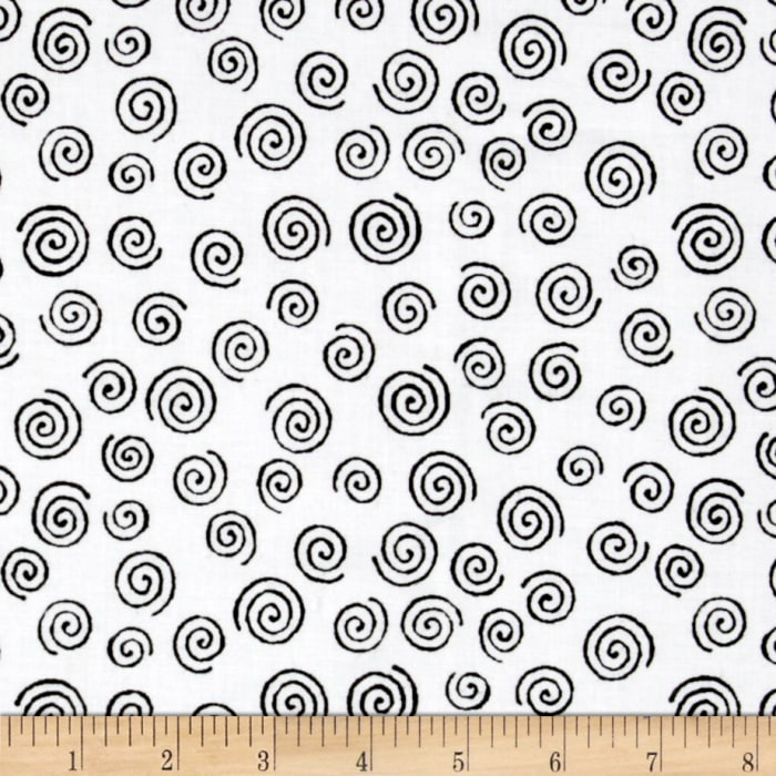 "110"" Wide Quilt Backing Swirl Black"