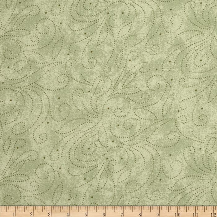 """110"""" Wide Quilt Backing Scroll Green"""