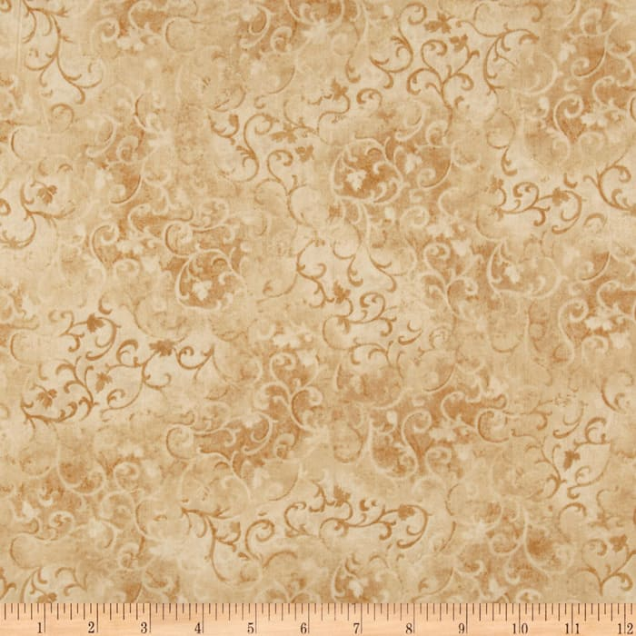"""108"""" Essential Scroll Quilt Backing Quilt Backing Tan"""