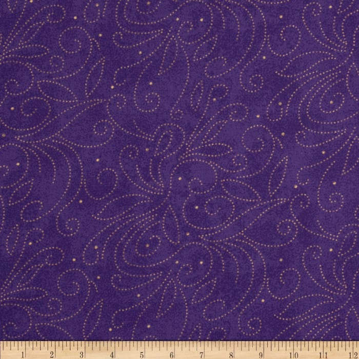 """110"""" Wide Quilt Backing Scroll Purple"""