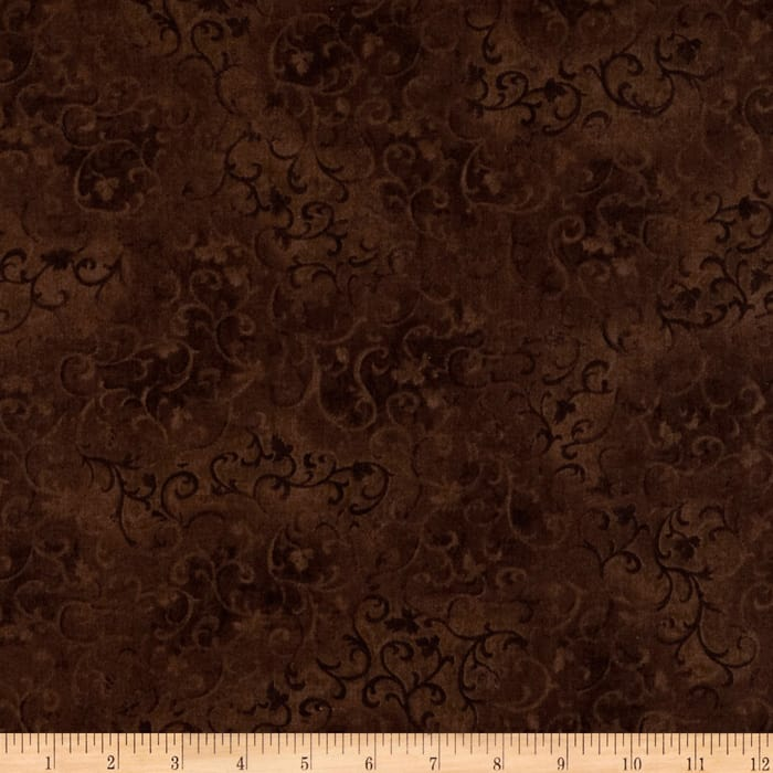 "108"" Wide Essentials Quilt Backing Scroll Brown"