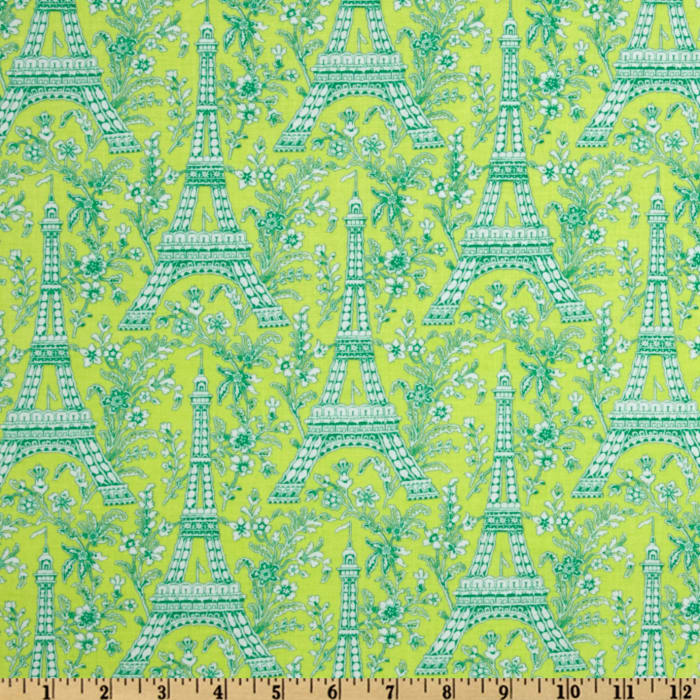 Michael Miller Eiffel Tower Collection Sorbet Sprout Green