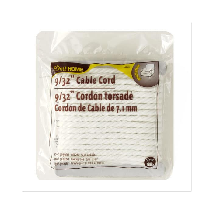 """Cable Cord 9/32"""" 10 Yards/Pkg White"""