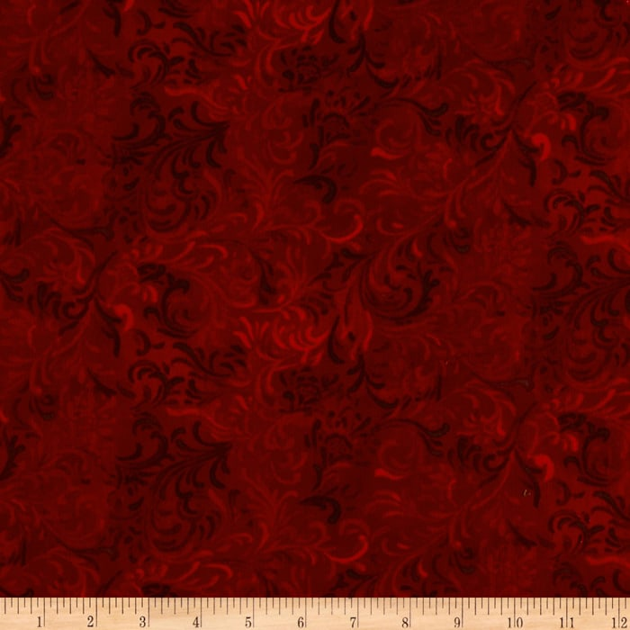 """108"""" Flourish Quilt Backing Red"""