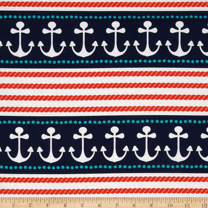 Michael Miller Ahoy Matey Stay The Course Repeating Stripe Navy