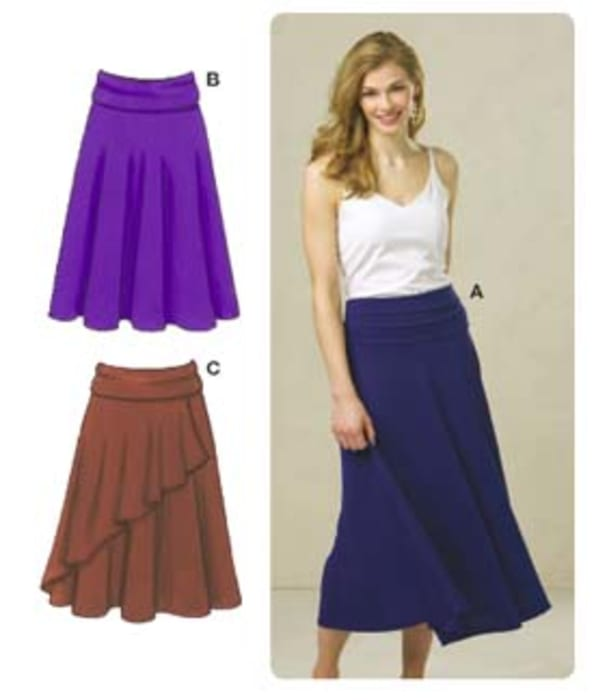 Kwik Sew Misses Fold-Over Waist Knit Skirts Pattern