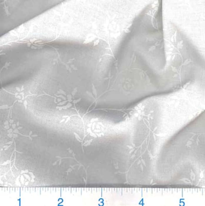 """108"""" Quilt Backing Tone on Tone Floral White/White"""