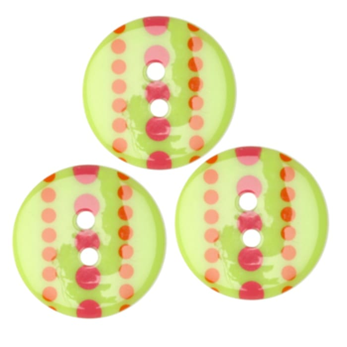 Fashion Button 3/4'' Confetti Striped Dots Lime
