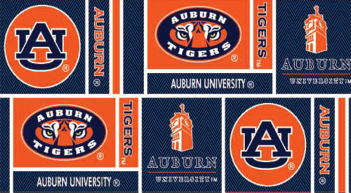 Collegiate Cotton Broadcloth Auburn University Squares Orange/Blue