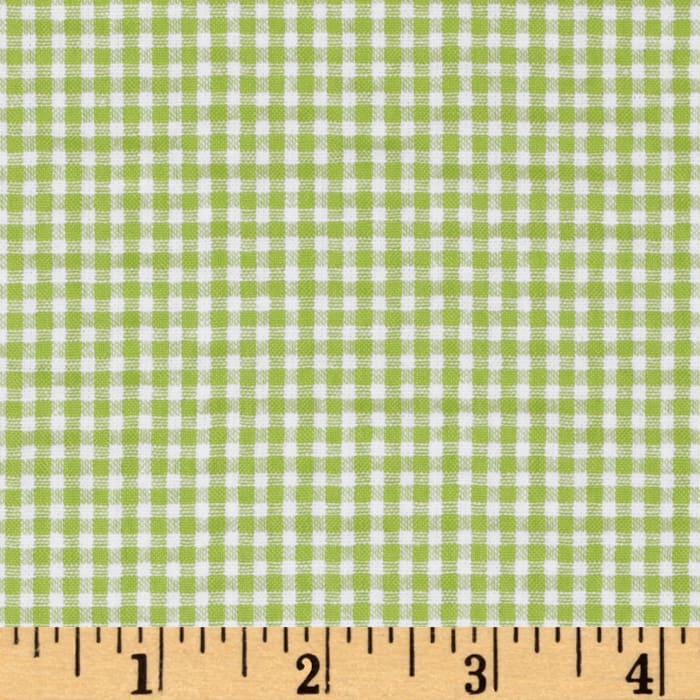 Woven Poly/Cotton Seersucker Gingham Lime Green