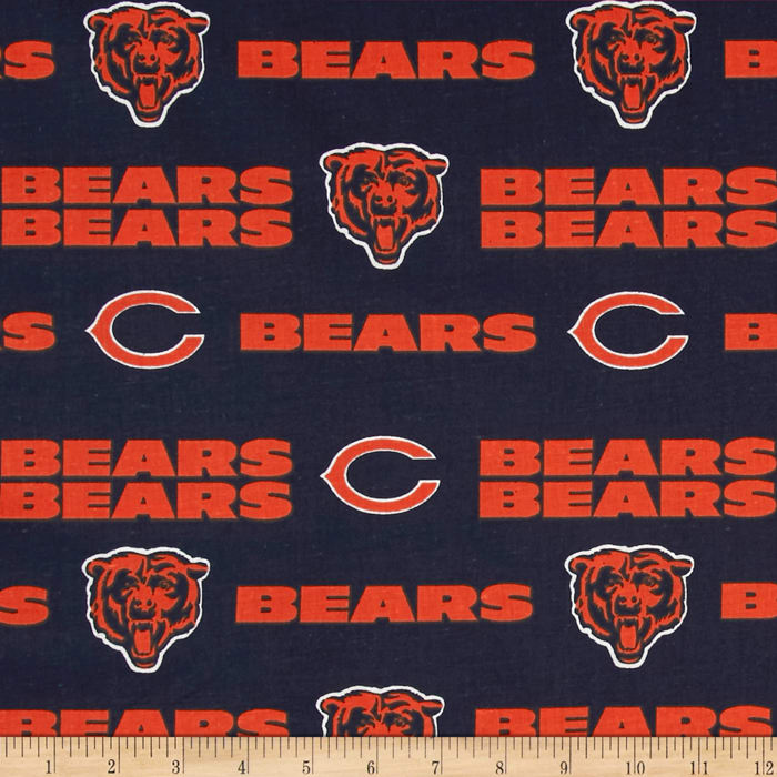 NFL Cotton Broadcloth Chicago Bears Orange/Navy