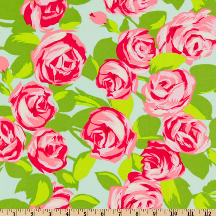 Amy Butler Love Tumble Roses Pink Discount Designer