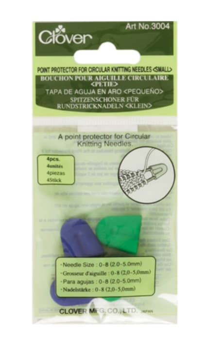 Clover Small Point Protector For Circular Knitting Needles, 4/pkg