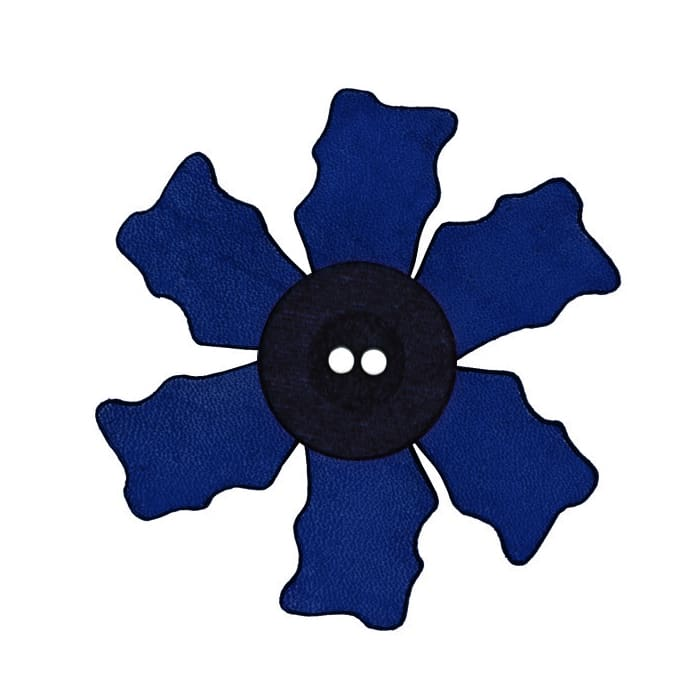 2.25'' Leather Button Flower Blue