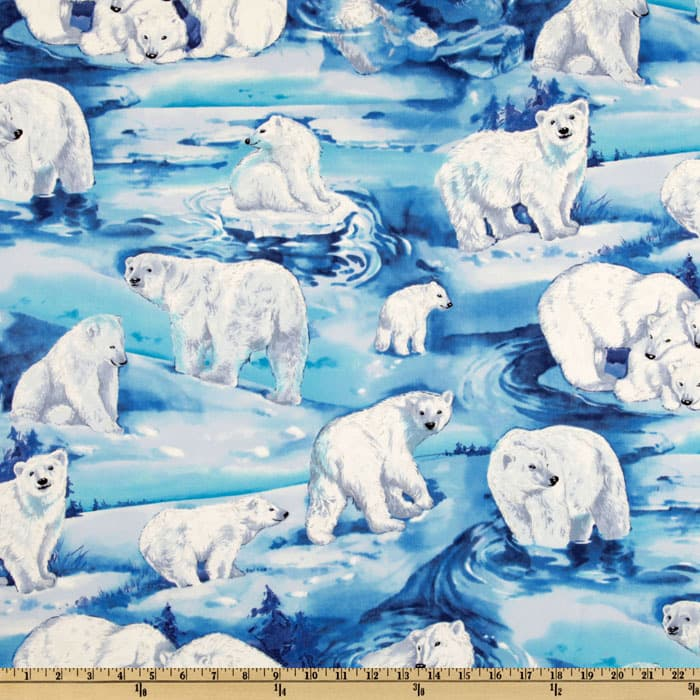 Timeless Treasures Polar Bear Metallic Blue/White