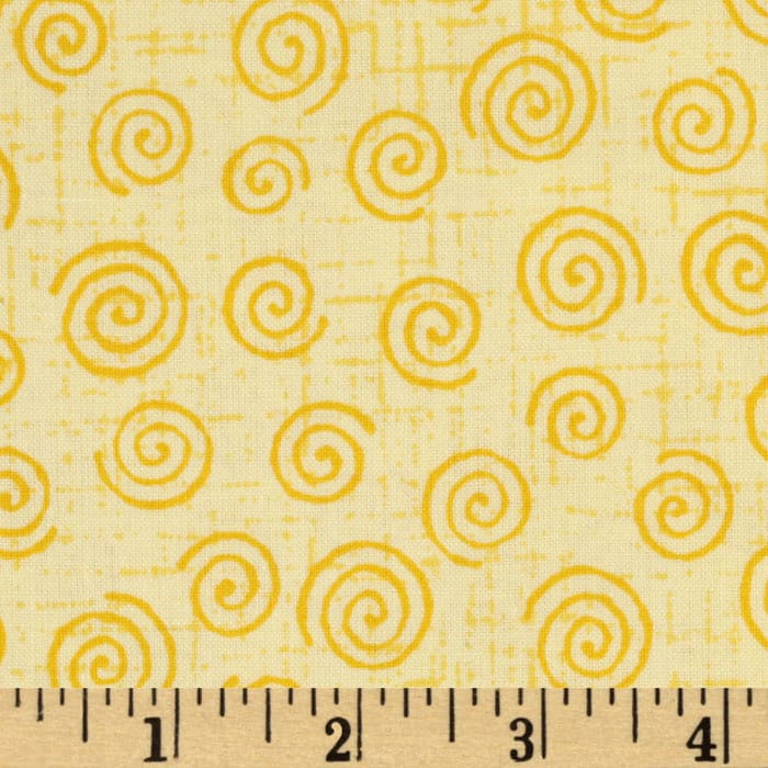 110'' Wide Quilt Backing Swirls Yellow/Gold