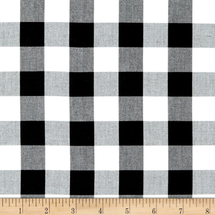 Kaufman 1'' Carolina Gingham Black/White
